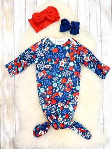 Navy / Red Orchids Sleep Gown