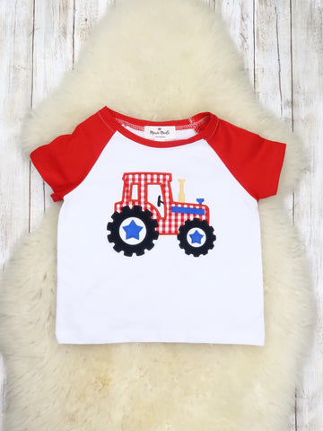 Red & White Checked Tractor T-Shirt