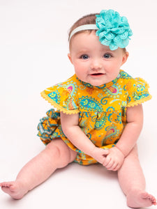 The Bella Bubble/Romper - Yellow Paisley