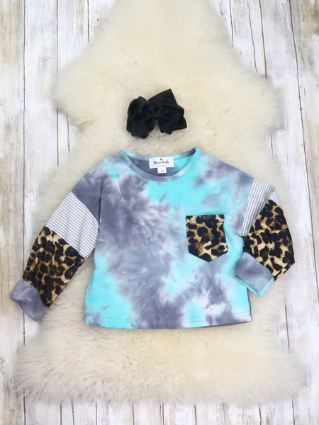 Mom & Me Blue Tie-Dye Leopard Shirt