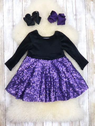 Black / Purple Sequin Dress