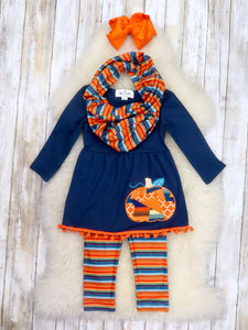 Navy / Orange Pumpkin Tunic, Striped Pants & Scarf Outfit