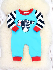 Striped Sleeve Blue Cow Romper