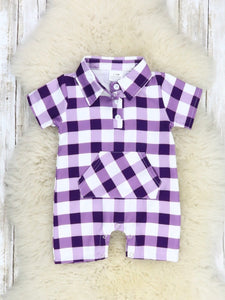 Purple Gingham Polo Romper