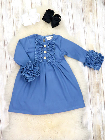 Button Icing/Ruffle Tunic - Steel Blue