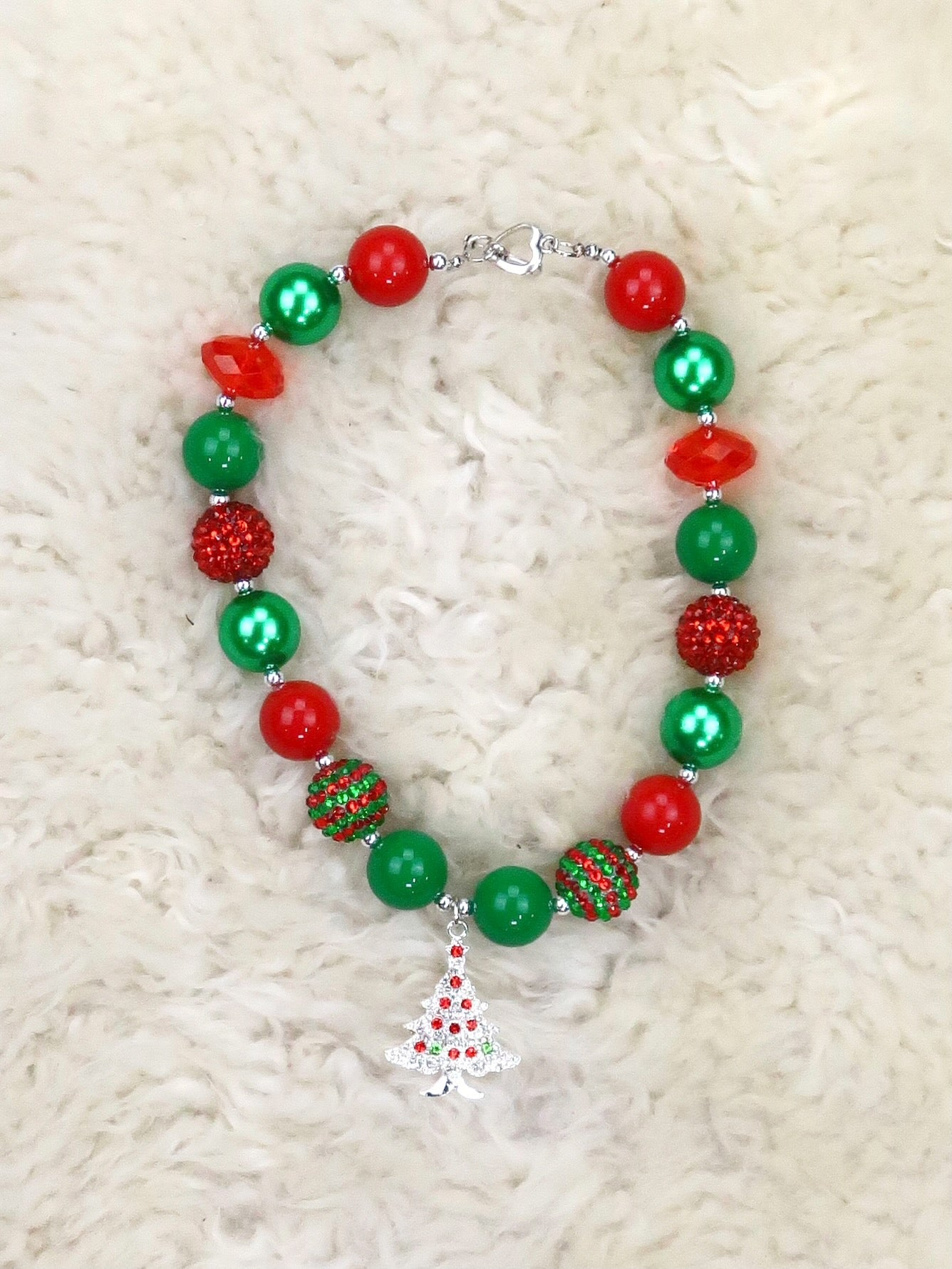 Red / Green Pearl Bubblegum Christmas Tree Necklace