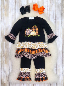 Black Leopard / Plaid Pumpkin Ruffle Top & Ruffle Pants Outfit