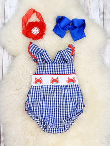 Blue Gingham Crab Ruffle Bubble Romper