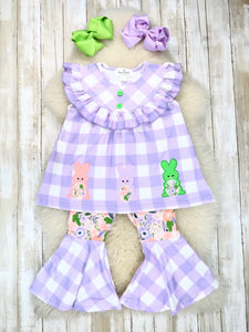 Purple Gingham Bunny Ruffle Top & Bell Bottom Outfit