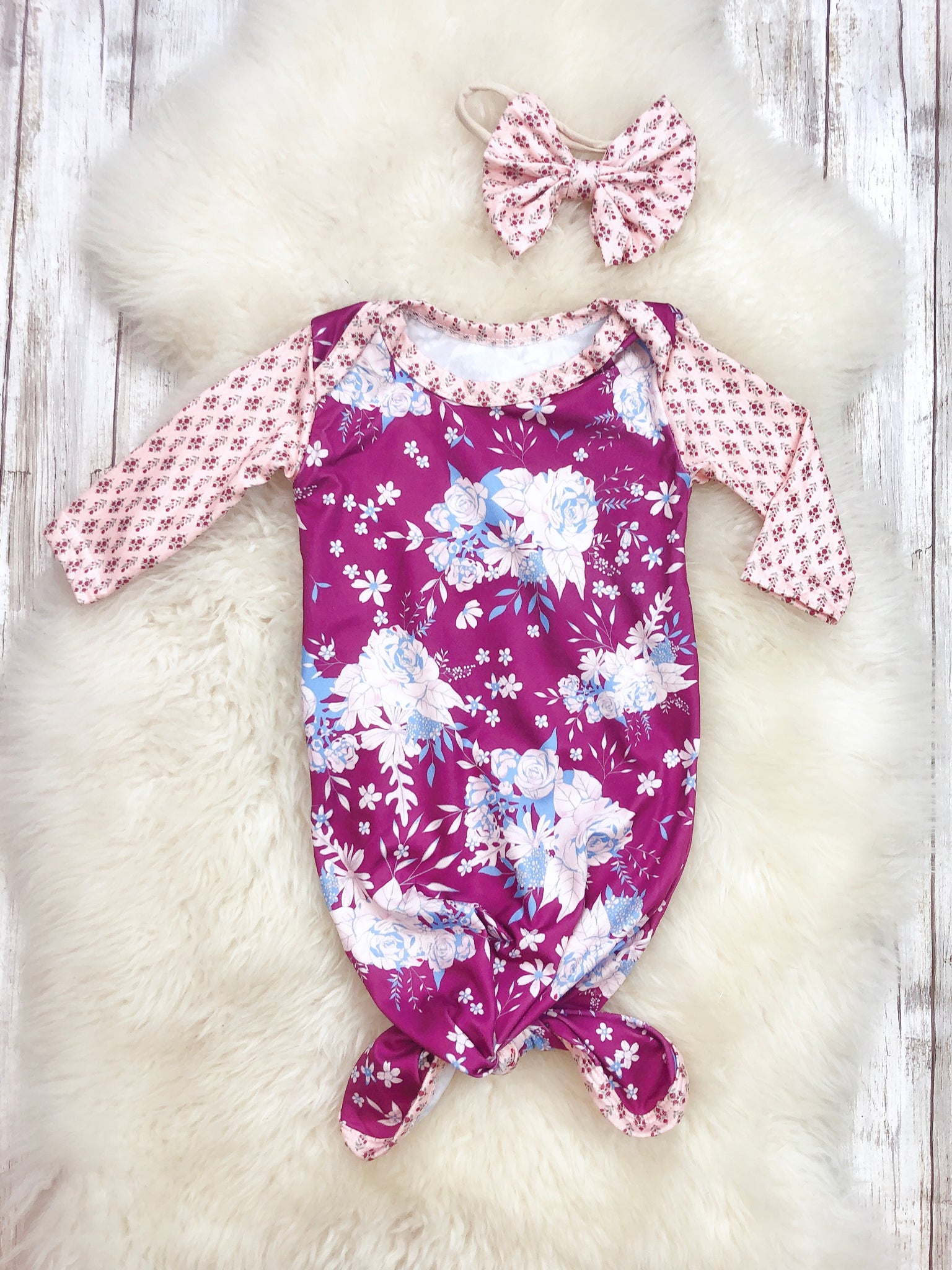 Purple Floral Baby Gown with Headband
