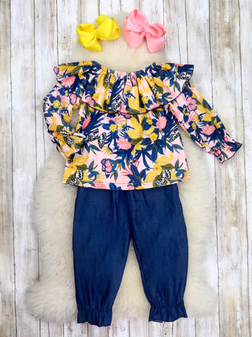 Navy / Yellow Floral Ruffle Top & Navy Paper Bag Pants Outfit