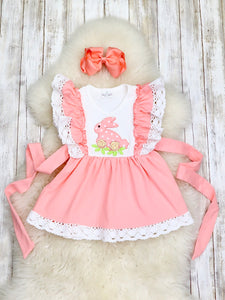 Pink Crochet Lace Bunny Flutter Tank Dress