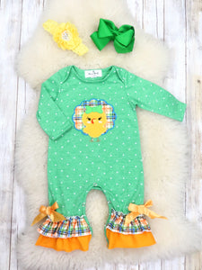 Green Polka Dot Turkey Ruffle Romper