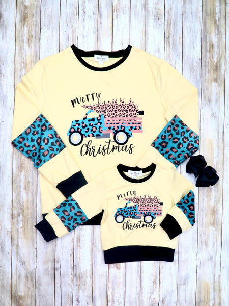 "Mom & Me Yellow ""Merry Christmas"" Truck Shirt"