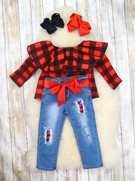 Buffalo Plaid Ruffle Top & Distressed Denim Outfit