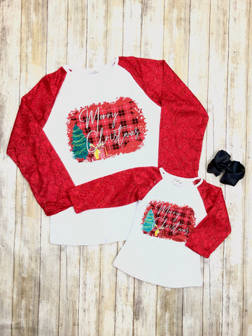 Mom & Me Red Merry Christmas Lacy Long Sleeve Shirt