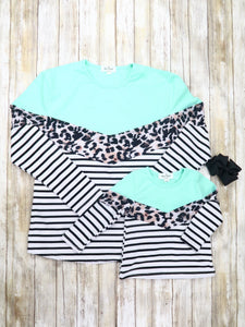 Mom & Me Mint / Leopard Striped Top