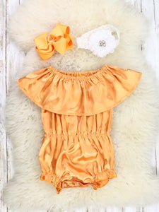 Gold Off the Shoulder Ruffle Romper
