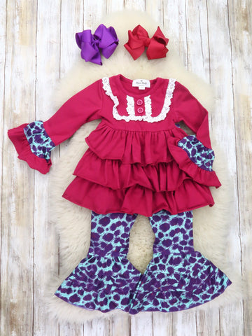 Cranberry Ruffle Top & Purple Leopard Bell Bottoms Outfit