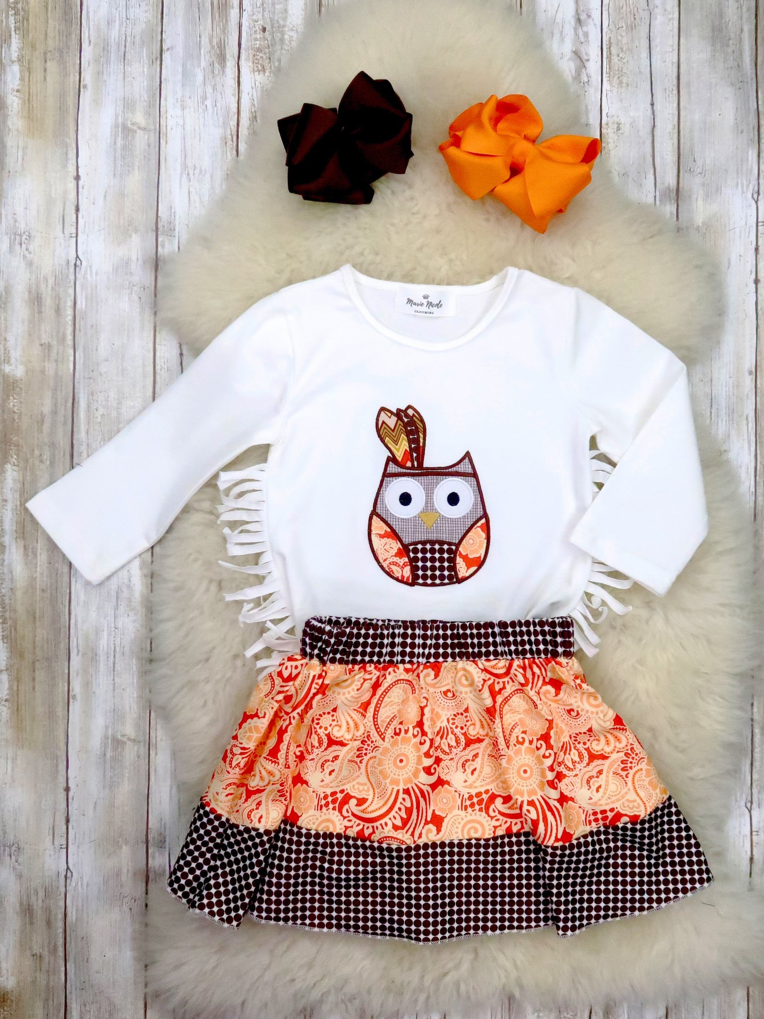 White Owl Fringe Top & Orange Skirt Outfit