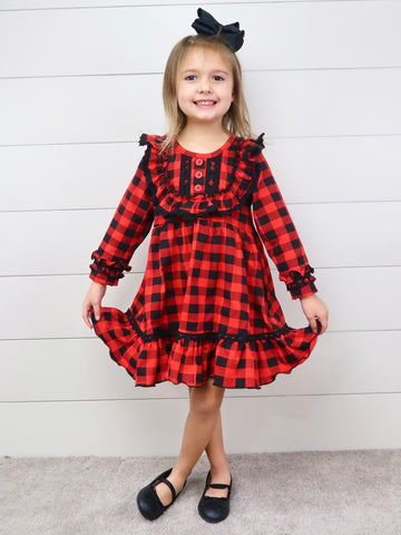 Christmas Buffalo Plaid Ruffle Dress