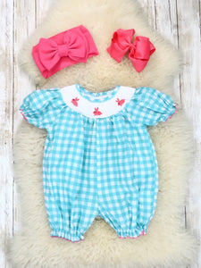 Turquoise Gingham Smocked Neckline with Bunny Embroidery Ruffle Romper