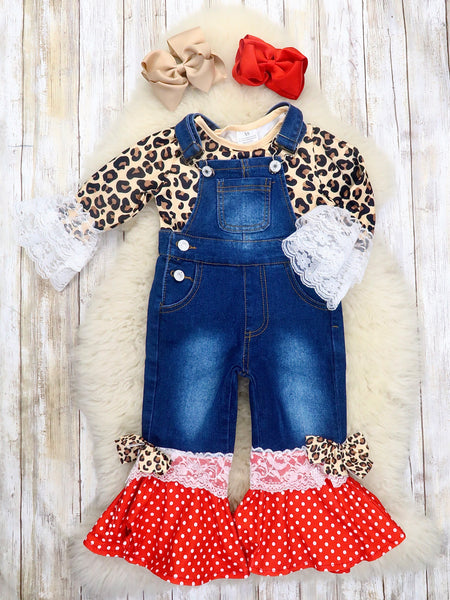 Leopard Ruffle Top & Bell Bottom Overalls Outfit