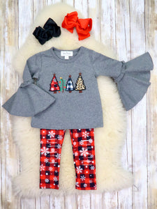 Christmas Tree Bell Sleeve Top & Buffalo Plaid Shredded Pants Outfit