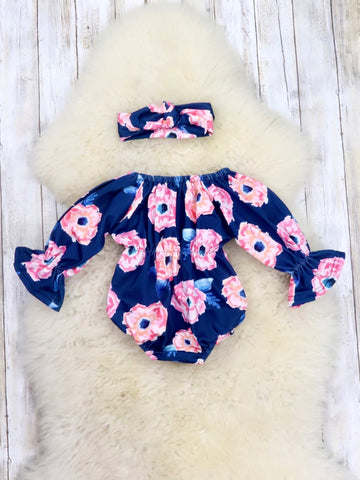 Baby's Breath Roses Romper & Headband
