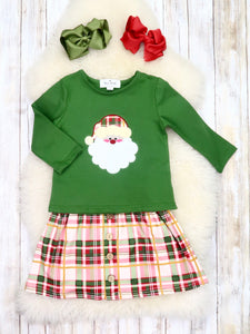 Green Santa Top & Plaid Skirt Outfit