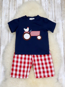 Chicken On A Tractor Navy/Check Shorts Set