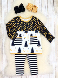 Black / Gold Christmas Tree Tunic & Striped Pants Outfit