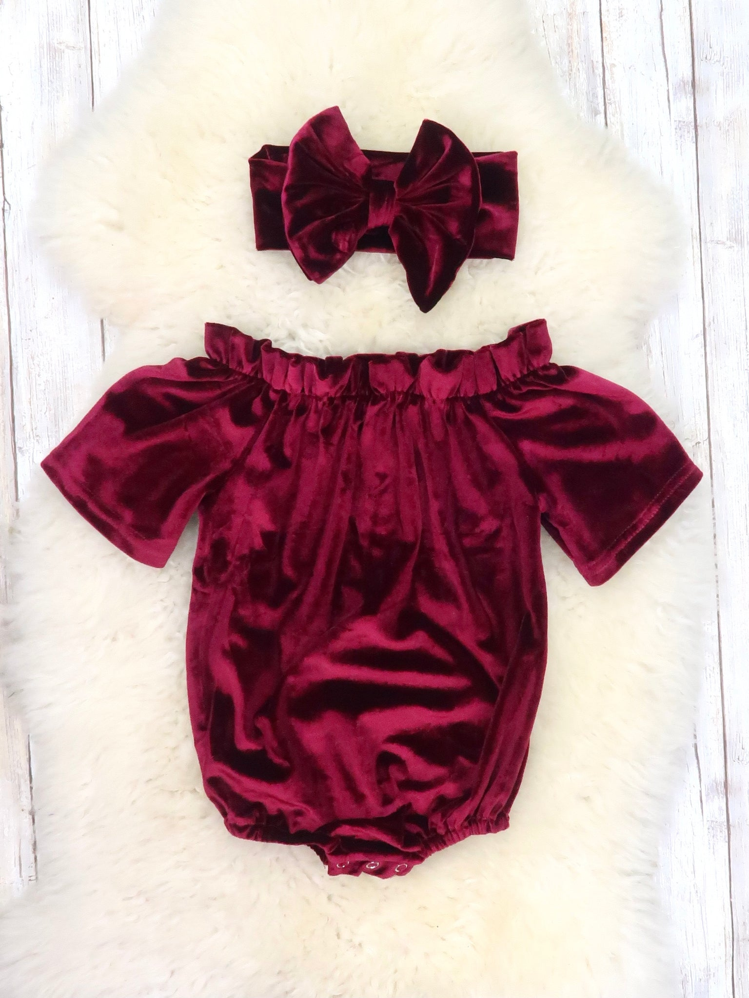 Velvet Open Shoulder Bubble with Headband - Burgundy