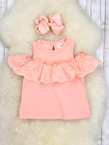 Cold Shoulder Ruffle Top - Peach