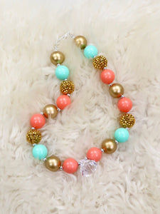 Golden Coral with Diamond Bubblegum Necklace