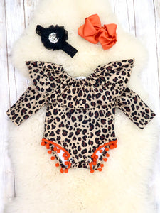 Leopard Print Orange Pom Pom Ruffle Bubble Romper