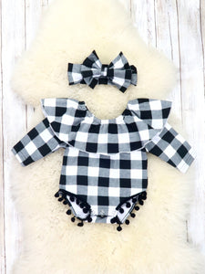 White / Black Plaid Ruffle Bubble Romper & Headband