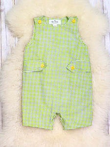 Cotton Green Checked Overall