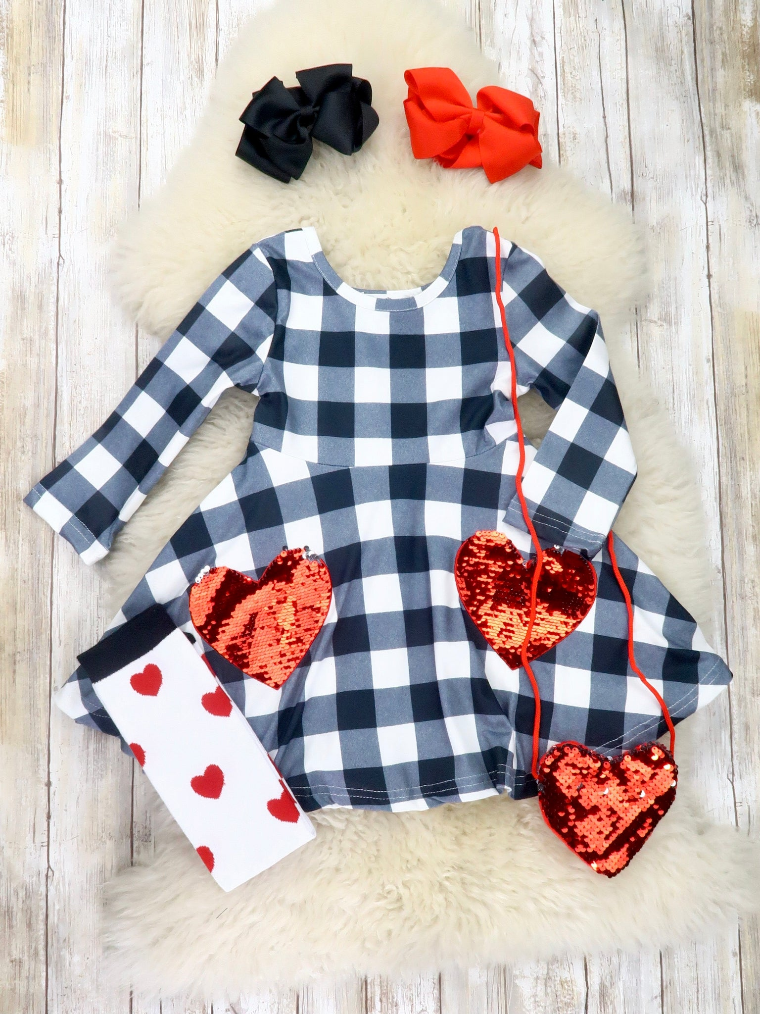 Black / White Checkered Hearts Dress, Purse, & Socks Outfit