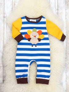 Blue Striped Yellow Turkey Romper