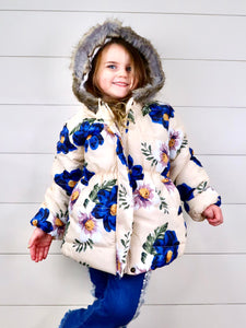 Yellow / Navy Floral Puffy Hooded Jacket