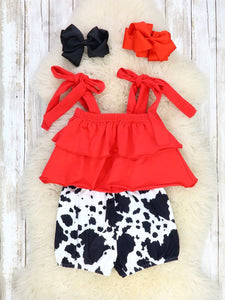 Red Swing Top & Cow Print Shorts