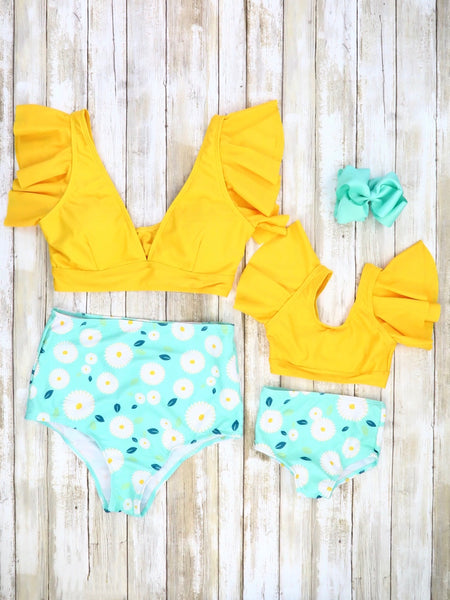 Mom & Me Yellow Ruffle Top & Teal Floral Bottom Swimsuit