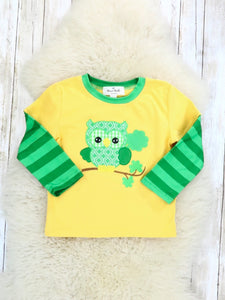Yellow / Green Striped Shamrock Owl Shirt