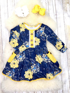 Navy / Mustard Floral Ruffle Dress