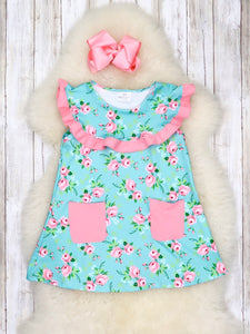 Teal & Pink Floral Pocket Dress