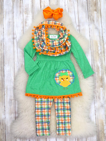 Green Turkey Ruffle Top, Plaid Pants, & Scarf Outfit