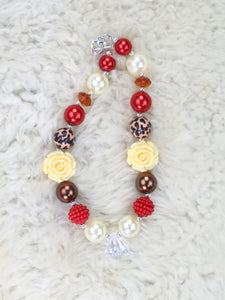 Yellow Rose Diamond Leopard Bubblegum Pearl Necklace