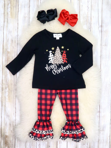 """Merry Christmas"" Trees Top & Buffalo Plaid Ruffle Pants Outfit"