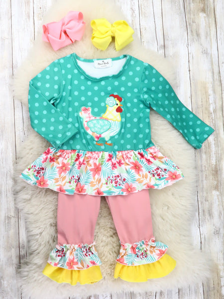 Teal Polka Dot Chicken Ruffle Top & Pink Ruffle Pants Outfit